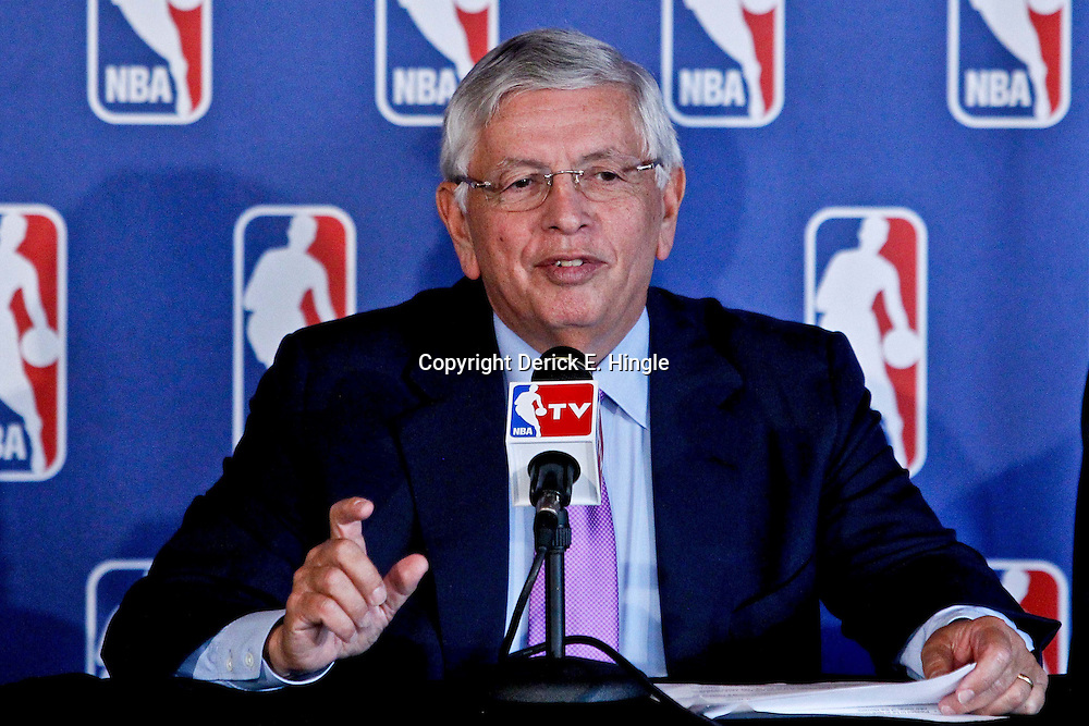 April 16, 2012; New Orleans, LA, USA; NBA commissioner David Stern during announcement that the NBA has awarded the 2014 NBA All-Star game to the city of New Orleans during a press conference at the New Orleans Arena.   Mandatory Credit: Derick E. Hingle-US PRESSWIRE