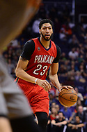 Feb 13, 2017; Phoenix, AZ, USA; New Orleans Pelicans forward Anthony Davis (23) handles the ball against the Phoenix Suns in the second half of the NBA game at Talking Stick Resort Arena. The New Orleans Pelicans won 110-108. Mandatory Credit: Jennifer Stewart-USA TODAY Sports