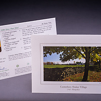 Rich in history and lined with immaculate stonewalls, the view of Canterbury Shaker Village captivates all who visit.  A summer recipe of Dilled Green Beans is included. Also available as a Limited Edition Fine Art Print. <br /> <br /> Artemis Photo Greeting Cards featuring NH native flora and fauna and historic sites. The cards are made exclusively in NH made from 100% FSC recycled paper, manufactured with wind and water power, and are archival acid free paper. Each card includes details on the back about the image, including interesting anecdotes, historic facts, conservation status, and recipes.