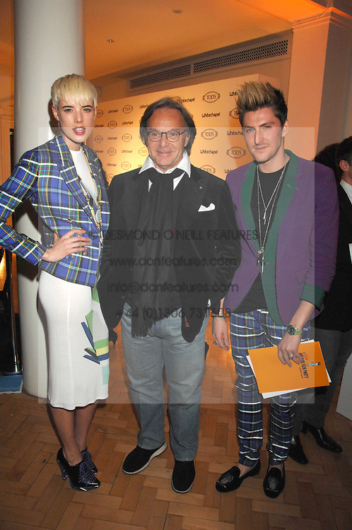 Left to right, Model AGYNESS DEYNE, DIEGO DELLA VALLE CEO & President of TOD's and designer HENRY HOLLAND at the TOD's Art Plus Film Party 2008 hosted by The Whitechapel Art Gallery at a former church at 1 Marylebone Road, London NW1 on 6th March 2008.<br />