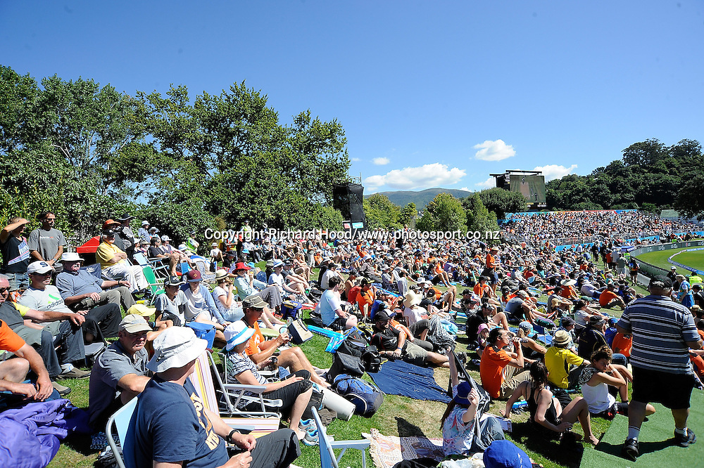 Crowd shot during the ICC Cricket World Cup match between New Zealand and Scotland at university oval in Dunedin, New Zealand. Photo: Richard Hood/photosport.co.nz