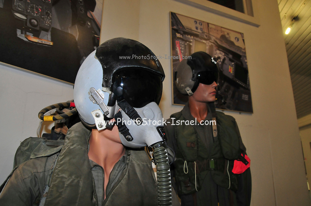 Israel, Hazirim, near Beer Sheva, Israeli Air Force museum. The national centre for Israel's aviation heritage. A model wearing a pilots flight suit and helmet