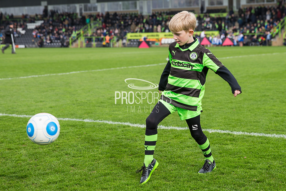 Mascot having a kick around pre match during the Vanarama National League match between Forest Green Rovers and Wrexham FC at the New Lawn, Forest Green, United Kingdom on 18 March 2017. Photo by Shane Healey.