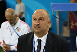 July 7, 2018 - Sochi, Russia - July 07, 2018, Sochi, FIFA World Cup 2018, the playoff round. 1/4 finals of the World Cup. Football match Russia - Croatia at the stadium Fisht. Player of the national team Head coach Stanislav Salamovich Cherchesov; Stanislav Cherchesov (Credit Image: © Russian Look via ZUMA Wire)