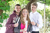 14/08/2013 Leaving Cert recipients Fergus McCabe(625), Sorcha Egan (580 pts) and Finn McLoughlin, 615 points from Yeats College Galway . Photo:Andrew Downes