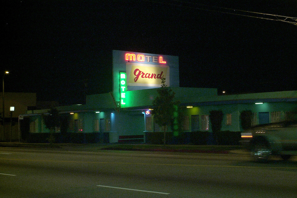 Night shot of Motel Grande in Los Angeles, CA.
