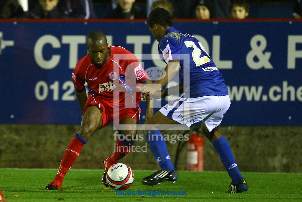 Aldershot - Saturday December 5th, 2009: Anthony Straker of Aldershot and Mark Little of  Chesterfield in action during the Coca Cola League Two match at the EBB Stadium, Aldershot. (Pic by Paul Chesterton/Focus Images)