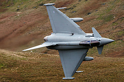 Royal Air Force Eurofighter Typhoon FGR4 (ZK313) flies low level through the Mach Loop, Machynlleth, Wales, United Kingdom