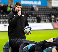 Ospreys' Forwards Coach Carl Hogg during the pre match warm up<br /> <br /> Photographer Simon King/Replay Images<br /> <br /> European Rugby Champions Cup Round 5 - Ospreys v Saracens - Saturday 11th January 2020 - Liberty Stadium - Swansea<br /> <br /> World Copyright © Replay Images . All rights reserved. info@replayimages.co.uk - http://replayimages.co.uk
