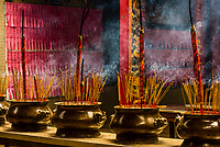 Burning incense, Thien Hau Temple, Chinatown, Ho Chi Minh City (Saigon), Vietnam.