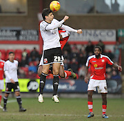 Raphael Rossi-Branco wins another aerial battle against the Crewe midfield during the Sky Bet League 1 match between Crewe Alexandra and Swindon Town at Alexandra Stadium, Crewe, England on 28 February 2015. Photo by Andrew Morfett.