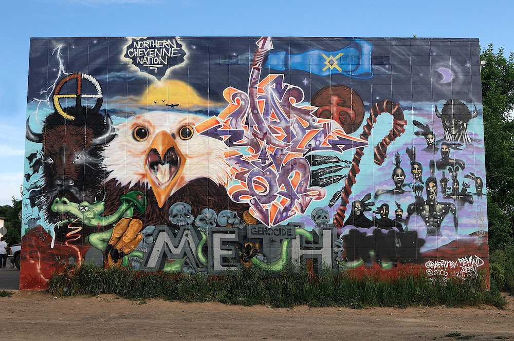 Mural, Lame Deer, Northern Cheyenne Indian Reservation,  Montana, USA