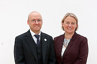 L-R Patrick Harvie and Natalie Bennett posing for a photos taken.<br /> Green Leader in England Campaigns for Scottish Independence. Natalie Bennett, who leads the Greens in England and Wales join Scottish convener Patrick Harvie a head of the independence referendum at Out of the Blue Drill Hall in Edinburgh.<br /> Pako Mera/Universal News And Sport (Europe) 02/09/2014