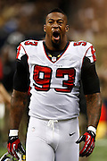 NEW ORLEANS, LA - NOVEMBER 11:  Ray Edwards #93 of the Atlanta Falcons on the sidelines during a game against the New Orleans Saints at Mercedes-Benz Superdome on November 11, 2012 in New Orleans, Louisiana.  The Saints defeated the Falcons 31-27.  (Photo by Wesley Hitt/Getty Images) *** Local Caption *** Ray Edwards