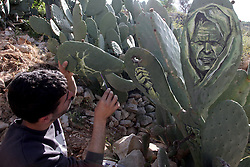 Palestinian artist Ahmad Yasin paints on a cactus fruits tree at his house garden in the West Bank village of Aseera Ashmaliya near Nablus on April 7, 2016. EXPA Pictures © 2016, PhotoCredit: EXPA/ Photoshot/ Nidal Eshtayeh<br /> <br /> *****ATTENTION - for AUT, SLO, CRO, SRB, BIH, MAZ, SUI only*****