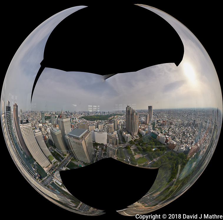Mirror Ball View of the Tokyo Skyline from the 47th floor South Tower Observatory in the Metropolitan Government Building. Composite of 51 images taken with a Leica CL camera and 11-23 mm lens (ISO 200, 18 mm, f/16, 1/125 sec). Raw images processed with Capture One Pro and AutoPano Giga Pro.