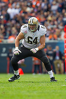 06 October 2013: Tackle (64) Zach Strief of the New Orleans Saints in game action against the Chicago Bears during the first half of the Saints 26-18 victory over the Bears in an NFL Game at Soldier Field in Chicago, IL.