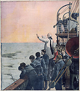 The loss of SS Titanic, 14 April 1912: Prayers at the scene of the disaster. The White Star Line chartered the cable-laying vessel Mackay-Brown to recover bodies and debris from the wreck of SS Titanic.  The vessel carried morticians and mortuary equipment and the remains recovered were landed at New York.  Here the crew stand solemnly as prayers are said for those lost.  SS Titanic struck an iceberg in thick fog off Newfoundland. She was the largest and most luxurious ocean liner of her time, and thought to be unsinkable.  In the collision five of her watertight compartments were compromised and she sank. Out of the 2228 people on board, only 705 survived.  A major cause of the loss of life was the insufficient number of lifeboats she carried.  From 'Le Petit Journal'. (Paris, 5 May 1912).