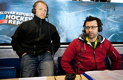 Tomaz Vnuk and Gregor Peternel of Sport TV during ice-hockey match between Slovenia and Latvia of Group G in Relegation Round of IIHF 2011 World Championship Slovakia, on May 5, 2011 in Orange Arena, Bratislava, Slovakia. Slovenia defeated Latvia 5-2. (Photo By Vid Ponikvar / Sportida.com)