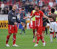 FUSSBALL  1. BUNDESLIGA  SAISON 2009/2010   6. Spieltag   19.09.2009 VfB Stuttgart  - 1. FC Koeln JUBEL Koeln, Lukas Podolski (li) und Youssef Mohamad