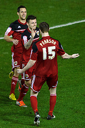 Bristol City Midfielder Paul Anderson (ENG) celebrates with Midfielder Stephen Pearson (SCO) after scoring a goal to give his side a 2-0 lead during the second half of the match - Photo mandatory by-line: Rogan Thomson/JMP - Tel: Mobile: 07966 386802 29/01/2013 - SPORT - FOOTBALL - Ashton Gate - Bristol. Bristol City v Watford - npower Championship.