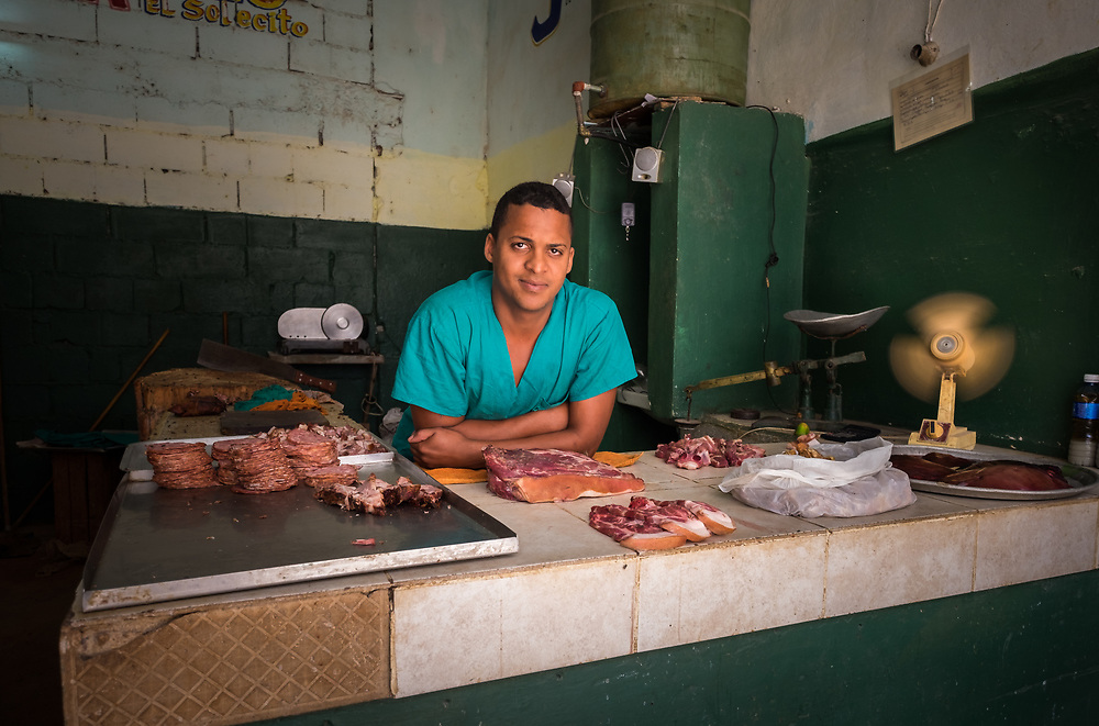 HAVANA, CUBA - CIRCA MAY 2016:  Butcher in Old Havana, Cuba.