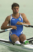 © Peter Spurrier / Intersport-Images  .+44 (0) 7973 819 551 email images@intersport-images.com.2003 - FISA World Cup Rowing Milan Italy.29/05/2003  - Photo Peter Spurrier.Italy's men's single sculler Maro Razzi moves away from the start in the opening day of the first 2003 FISA World Cup, held on the Idroscala Milan Italy ... [Mandatory Credit: Peter Spurrier:Intersport Images]