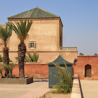Menara Gardens Pavilion in Marrakech, Morocco<br /> The Menara Gardens were established in 1130 by Abd al-Mu&rsquo;min while he was the leader of the Almohad Movement.  In 1147, he became the first Caliph of Morocco and the Almohad Empire. By the end of his reign in 1163, he ruled most of northern Africa and parts of Spain. This botanical garden has been maintained since his residency in the 12th century. The pavilion was added by the Saadi Dynasty in the 16th century and restored in 1869. On the right is an artificial pond used to irrigate the gardens. The water has been supplied from the Atlas Mountains using an underground system named a qanāt for over 700 years.
