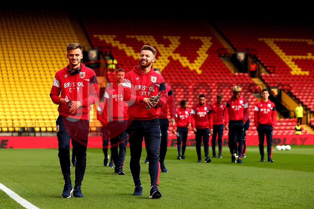 Matty Taylor and Jamie Paterson of Bristol City take in the surroundings of Vicarage Road ahead of their Carabao Cup match against Watford - Mandatory by-line: Robbie Stephenson/JMP - 22/08/2017 - FOOTBALL - Vicarage Road - Watford, England - Watford v Bristol City - Carabao Cup