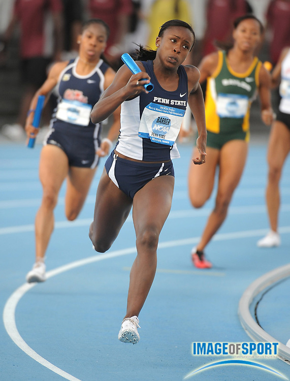 Jun 12, 2008; Des Moines, IA; Aleesha Barber runs the second leg on Penn State heat-winning women's 4 x 400m relay that ran 3:31.18 in the NCAA Track & Field Championships at Drake Stadium