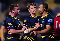 Ashley Beck of Worcester Warriors celebrates with Niall Annett of Worcester Warriors  and Tom Howe of Worcester Warriors- Mandatory by-line: Alex James/JMP - 23/08/2018 - RUGBY - Sixways Stadium - Worcester, England - Worcester Warriors v Birmingham Moseley - Pre-season friendly