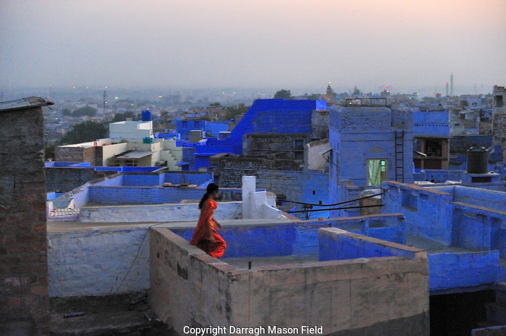 Woman on the Jodphur blue rooftops
