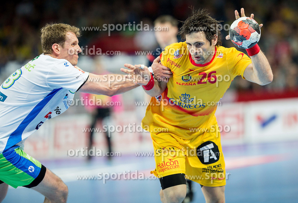David Miklavcic of Slovenia vs Antonio Jesus Garcia of Spain during handball match between National teams of Slovenia and Spain on Day 4 in Preliminary Round of Men's EHF EURO 2016, on January 18, 2016 in Centennial Hall, Wroclaw, Poland. Photo by Vid Ponikvar / Sportida