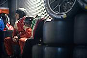 January 30-31, 2016: Daytona 24 hour: A Ferrari mechanic sleeps during the Daytona 24