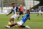 Alfredo Morelos of Rangers tackles Nicolai Brock-Madsen of St Mirren during the Ladbrokes Scottish Premiership match between St Mirren and Rangers at the Simple Digital Arena, Paisley, Scotland on 3 November 2018.