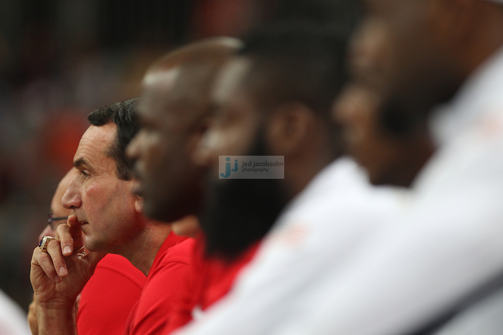 Head coach Mike Krzyzewski of the USA coaches against France during Day 2 of the London Olympic Games in London, England, United Kingdom on 29 Jul 2012..(Jed Jacobsohn/for The New York Times)....