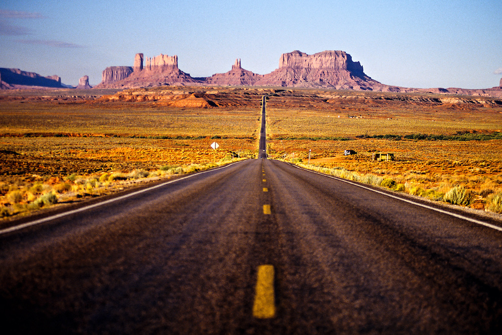 U. S. Route 163 approaching Monument Valley, Utah/Arizona border USA