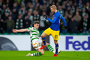 Ryan Christie (#17) of Celtic FC tackles Konrad Laimer (#27) of RB Leipzig during the Europa League group stage match between Celtic and RP Leipzig at Celtic Park, Glasgow, Scotland on 8 November 2018.