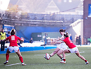 Katy Daley-Mclean of England kicks ahead<br /> <br /> Photographer Simon King/Replay Images<br /> <br /> Six Nations Round 3 - Wales Women v England Women - Sunday 24th February 2019 - Cardiff Arms Park - Cardiff<br /> <br /> World Copyright © Replay Images . All rights reserved. info@replayimages.co.uk - http://replayimages.co.uk