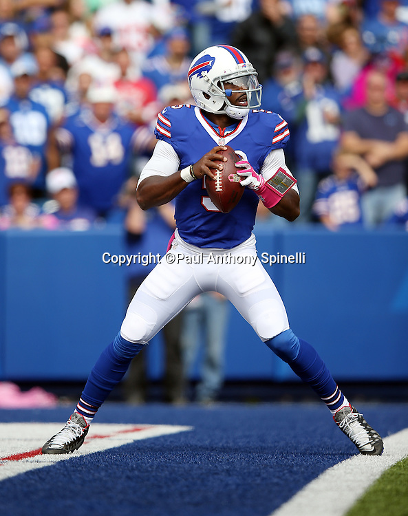 Buffalo Bills quarterback Tyrod Taylor (5) drops back to pass in his own end zone in the second quarter during the 2015 NFL week 4 regular season football game against the New York Giants on Sunday, Oct. 4, 2015 in Orchard Park, N.Y. The Giants won the game 24-10. (©Paul Anthony Spinelli)