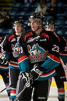 KELOWNA, CANADA, NOVEMBER 25: Tanner Moar #23 of the Kelowna Rockets warms up on the ice as the Kootenay Ice visit the Kelowna Rockets  on November 25, 2011 at Prospera Place in Kelowna, British Columbia, Canada (Photo by Marissa Baecker/Shoot the Breeze) *** Local Caption *** Tanner Moar;