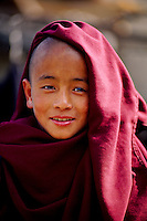 Young novice monk, Rumtek Monastery (Yellow Hat Karmapa sect of Buddhism), near Gangtok, Sikkim, India