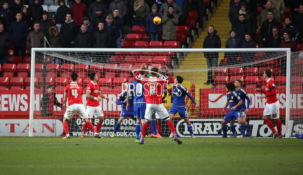 Charlton Athletic midfielder, Jordan Cousins (8)  missing a chance during the Sky Bet Championship match between Charlton Athletic and Cardiff City at The Valley, London, England on 13 February 2016. Photo by Matthew Redman.