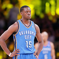 09 March 2014: Oklahoma City Thunder point guard Reggie Jackson (15) rests during the Los Angeles Lakers 114-110 victory over the Oklahoma City Thunder at the Staples Center, Los Angeles, California, USA.
