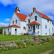 &quot;Colors of Point Iroquois&quot;<br /> <br /> An amazing early fall day with flowers still in bloom along the beautiful walls surrounding Point Iroquois Light Station!!<br /> <br /> Lighthouses of the Great Lakes by Rachel Cohen.