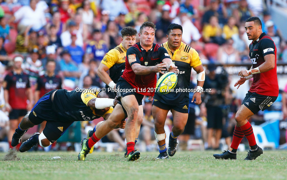 12 February 2017, Day 2 of the Brisbane Global Rugby Tens at Suncorp Stadium, Brisbane, Australia.<br />  George Bridge of the Crusaders in action against the Hurricanes  in the Semi  Finals<br /> Copyright photo: Jason O'Brien / www.photosport.nz