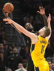 April 25, 2018 - Cleveland, OH, USA - The Cleveland Cavaliers' Jeff Green grabs the rebound over the Indiana Pacers' Domantas Sabonis (11) in the fourth quarter of Game 5 of the first-round NBA playoff series on Wednesday, April 25, 2018, at Quicken Loans Arena in Cleveland. The Cleveland Cavaliers won, 98-95, for a 3-2 series lead. (Credit Image: © Leah Klafczynski/TNS via ZUMA Wire)