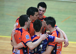 Players of ACH Andrej Flajs, Davor Cebron, Ales Fabjan, Alen Sket, Matija Plesko celebrate at last final volleyball match of 1.DOL Radenska Classic between OK ACH Volley and Salonit Anhovo, on April 21, 2009, in Arena SGS Radovljica, Slovenia. ACH Volley won the match 3:0 and became Slovenian Champion. (Photo by Vid Ponikvar / Sportida)