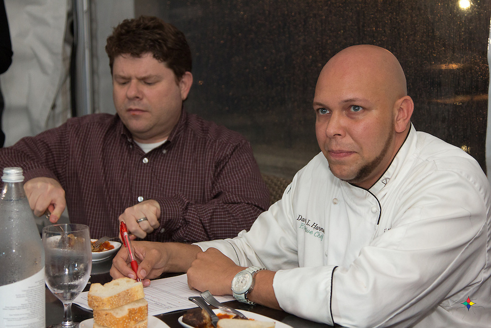 Philadelphia Inquirer food critic Michael Klein, Water Works Restaurant Executive Chef Darryl Harmon, and Philadelphia Food and Wine Festival Organizer Chris Myers judge the three best recipes in the Inquirer's Annual Recipe contest. The judging took place at the Water Works Restaurant on Boathouse Row in Philadelphia. The winner, business consultant Joan Menige, received four free tickets to the Philadelphia Food & Wine Festival. The Philadelphia Food & Wine Festival will be held Friday, Saturday and Sunday, October 21, 22 & 23 at the Valley Forge Convention Center. The event was hosted by Jennifer Mueller.
