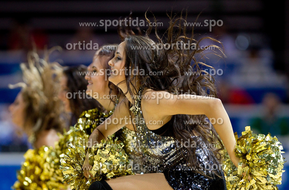 Cheerleaders Klaipeda University Dance Team (Zalgdance)  during basketball match between National teams of Slovenia and Georgia in Group D of Preliminary Round of Eurobasket Lithuania 2011, on September 3, 2011, in Arena Svyturio, Klaipeda, Lithuania. (Photo by Vid Ponikvar / Sportida)